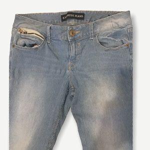 EXPRESS • pinstripe factory fade low-rise jean